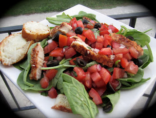 Chicken Bruschetta Salad with Caesar Bread
