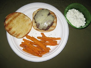 What's for Dinner…Grilled Burgers, Sweet Potato Fries, and cottage cheese