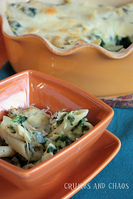 SRC: Cheesy Penne with Spinach and Artichokes
