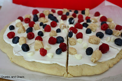 Red, White & Blue Cookie Dough Dessert Pizza