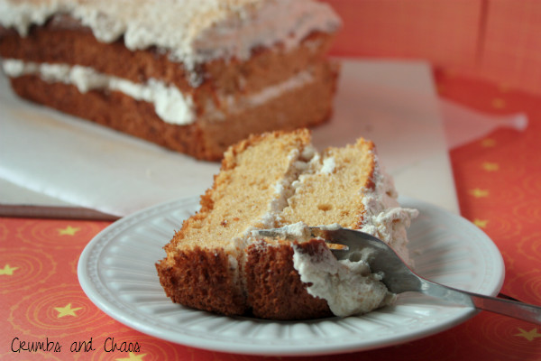 Pumpkin Angel Food Cake with Maple Cinnamon Whipped Cream