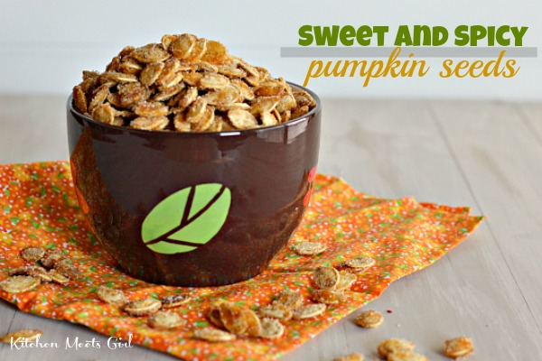 Sweet and Spicy Pumpkin Seeds from Kitchen Meets Girl