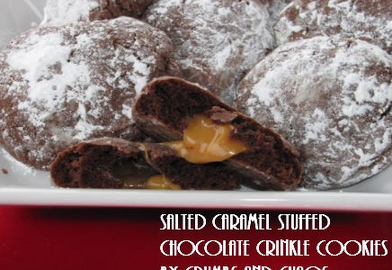 Salted Caramel Stuffed Crinkle Cookies