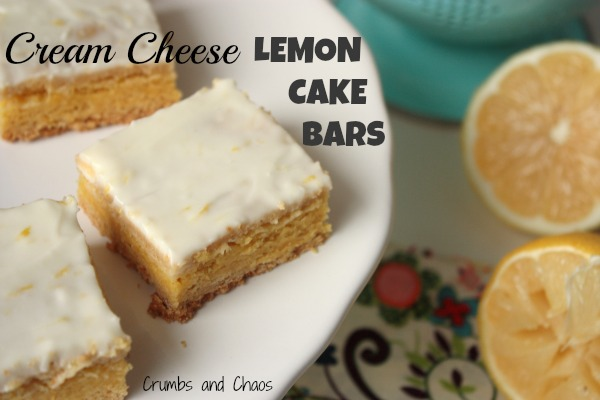 Cream Cheese Lemon Cake Bars | Crumbs and Chaos  #lemon #desserts   www.crumbsandchaos.net