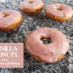 Vanilla Donuts with Strawberry Frosting | www.crumbsandchaos.net | #donuts #strawberry #breakfast