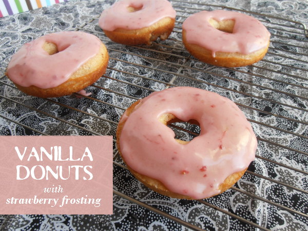 Vanilla Donuts with Strawberry Frosting