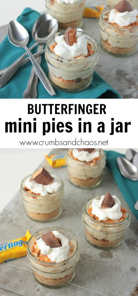 Mini Butterfinger Pies in a Jar are the best peanut butter treat in a portable, mini size!