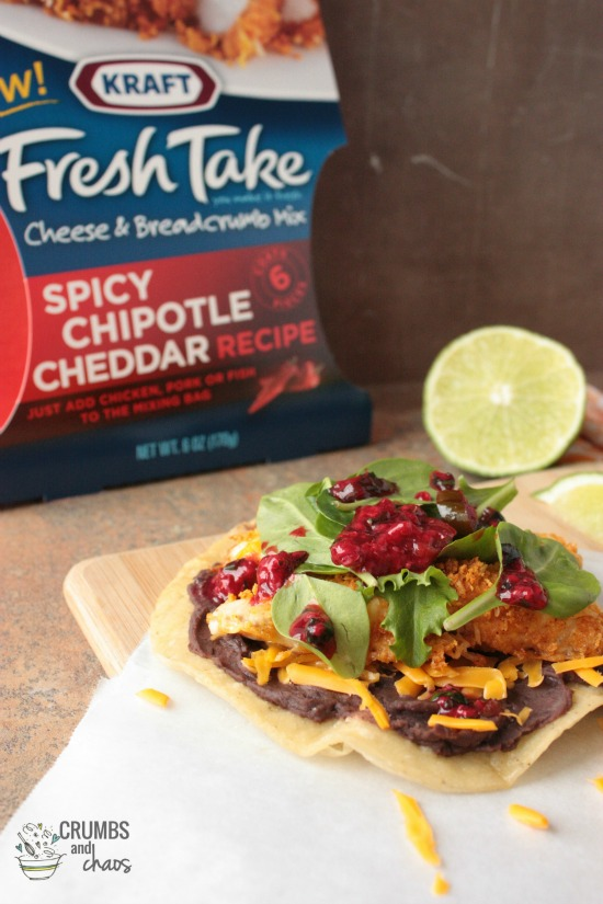 Chipotle Crusted Tilapia Tostadas with Raspberry Salsa | Crumbs and Chaos #KRAFTFreshTake #maindish #mexican  www.crumbsandchaos.net