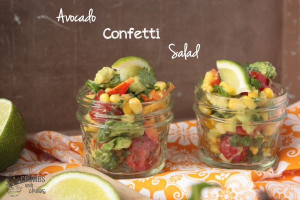 Avocado Confetti Salad | Crumbs and Chaos  #sidedish #vegetables #avocados  www.crumbsandchaos.net