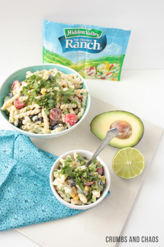 Cilantro Ranch Pasta Salad | Crumbs and Chaos #pastasalad #sidedish #ranchremix www.crumbsandchaos.net
