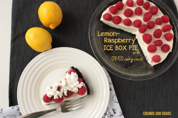 Lemon Raspberry Ice Box Pie | Crumbs and Chaos  An incredible pie - creamy lemon filling perfectly complemented by tart raspberries and Oreo cookie crust.  #pie #lemon #Oreo  www.crumbsandchaos.net