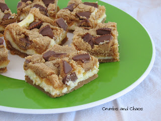 Peanut Butter Cup Cheesecake Bars | Crumbs and Chaos