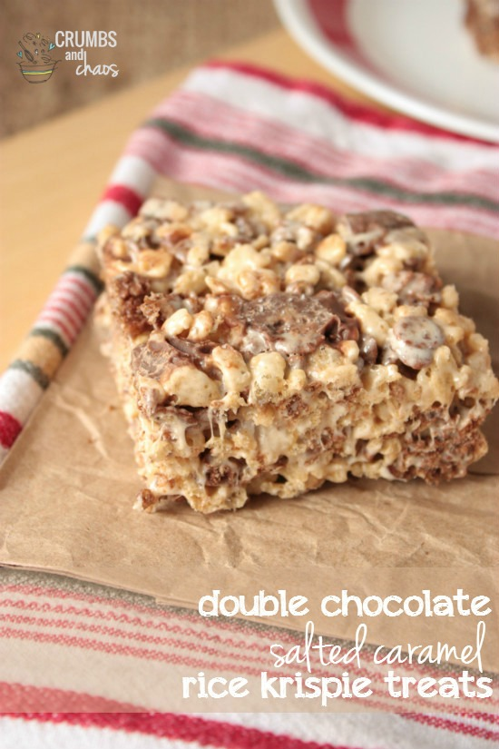 Double Chocolate Salted Caramel Rice Krispie Treats | Crumbs and Chaos A deluxe version of the classic treat made with Rolo candies and salted caramel. #ricekrispietreats #dessert #Rolos  www.crumbsandchaos.net