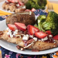 Red Rooster aka Strawberry Glazed Grilled Chicken with Feta &amp; Pecans | Crumbs and Chaos An easy and delicious way to dress up grilled chicken, this dish was inspired by an entree from a local restaurant. #chicken #strawberries #maindish #grilling www.crumbsandchaos.net