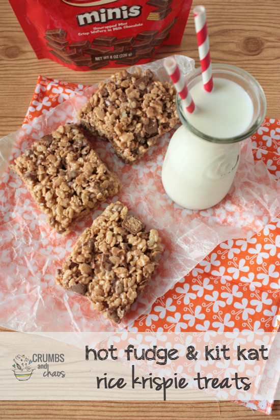 Hot Fudge Kit Kat Rice Krispie Treats | Crumbs and Chaos A fabulous spin on your favorite #nobake treat. #hotfudge #kitkat #ricekrispietreats www.crumbsandchaos.net