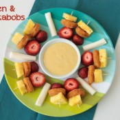 Chicken & Fruit Kabobs with Sweet Caramel Mustard Dipping Sauce | Crumbs and Chaos #kidfriendly #SpringtimeNuggets #lunch www.crumbsandchaos.net