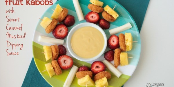 Chicken &amp; Fruit Kabobs with Sweet Caramel Mustard Dipping Sauce | Crumbs and Chaos #kidfriendly #SpringtimeNuggets #lunch www.crumbsandchaos.net