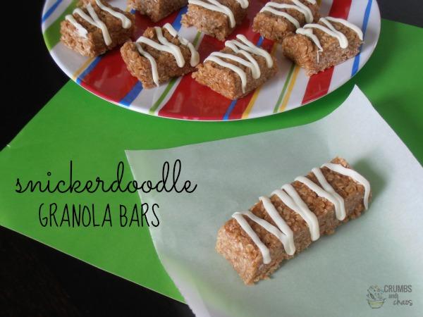 Snickerdoodle Granola Bars | crumbsandchaos.net | #granola #snack