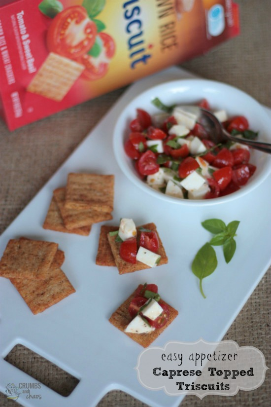 Caprese Topped Triscuit Crackers | Crumbs and Chaos