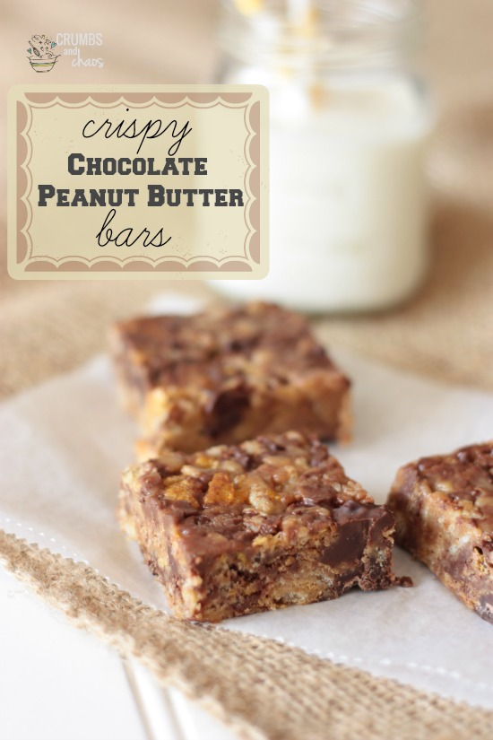 Crispy Chocolate Peanut Butter Bars | Crumbs and Chaos #dessert #kidfriendly #snack   www.crumbsandchaos.net