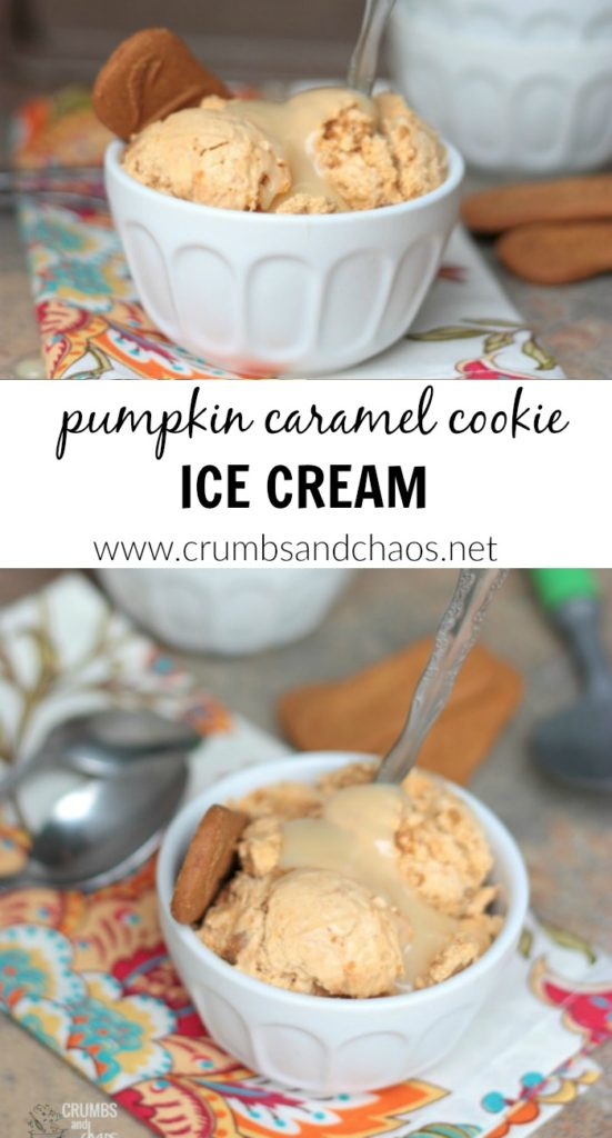 This seasonal ice cream needs no ice cream machine and is simple to make! Pumpkin Caramel Cookie Ice Cream is perfect for fall!