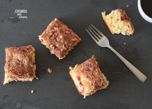 Cranberry Streusel Coffee Cake | Crumbs and Chaos #breakfast #cranberries #fall  www.crumbsandchaos.net