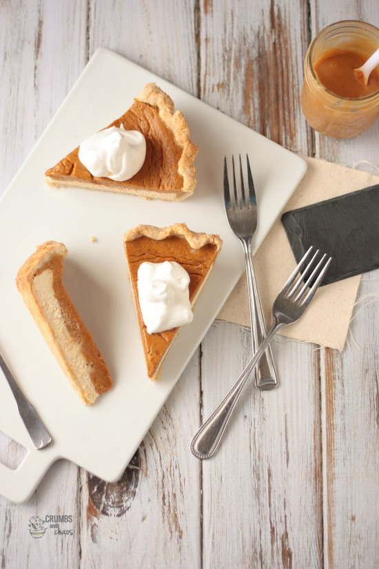 Dulce de Leche Pumpkin Pie | Crumbs and Chaos  A delightful Thanksgiving pie, a sweet variation of the classic!