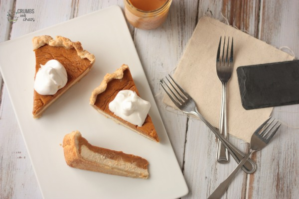 Dulce de Leche Pumpkin Pie | Crumbs and Chaos #Thanksgiving #pie #pumpkin   www.crumbsnadchaos.net