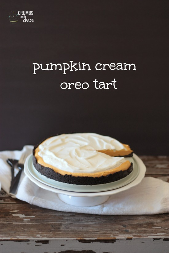 Pumpkin Cream Tart with Oreo Crust | Crumbs and Chaos #pumpkin #holiday #dessert www.crumbsandchaos.net