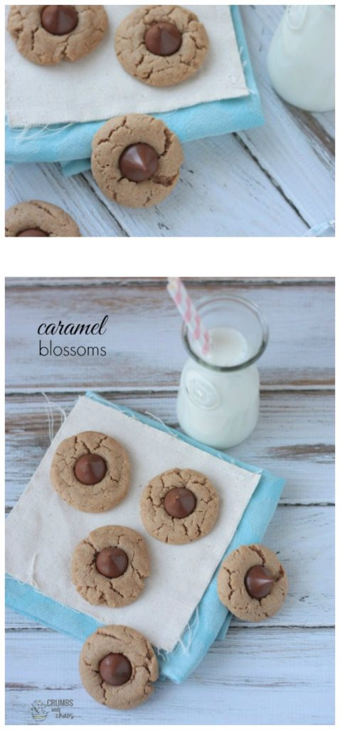 You only need 4 ingredients to make these decadent Caramel Blossom Cookies!