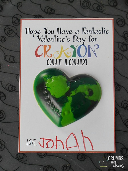 Crayon Valentine's Day Cards