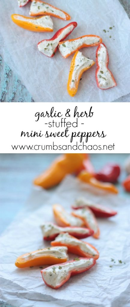 Garlic & Herb Stuffed Peppers | Crumbs and Chaos