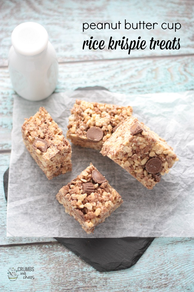 Peanut Butter Cup Rice Krispie Treats | Crumbs and Chaos