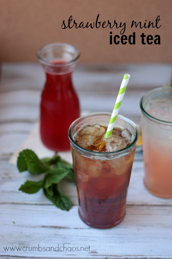 Strawberry Mint Iced Tea | Strawberry Mint Syrup | Crumbs and Chaos