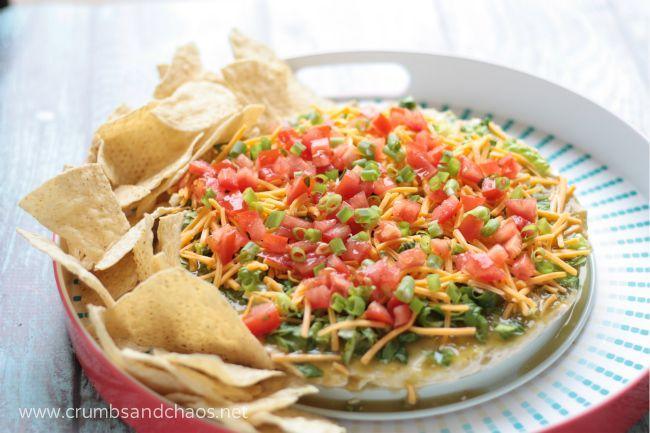 Salsa Verde Taco Dip | recipe on www.crumbsandchaos.net