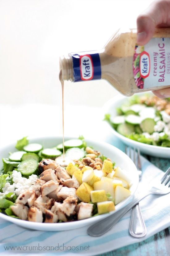 Balsamic Chicken and Pear Salad | recipe on www.crumbsandchaos.net