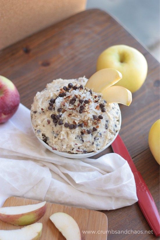 German Chocolate Apple Dip | recipe on www.crumbsandchaos.net