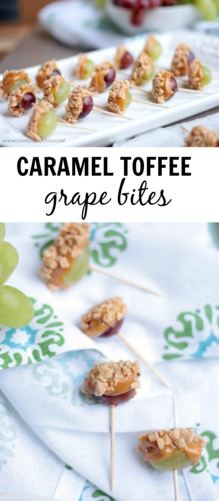 This simple snack is perfect for a party or gathering!  Caramel Toffee Grape Bites are a delicious sweet treat any time of year!