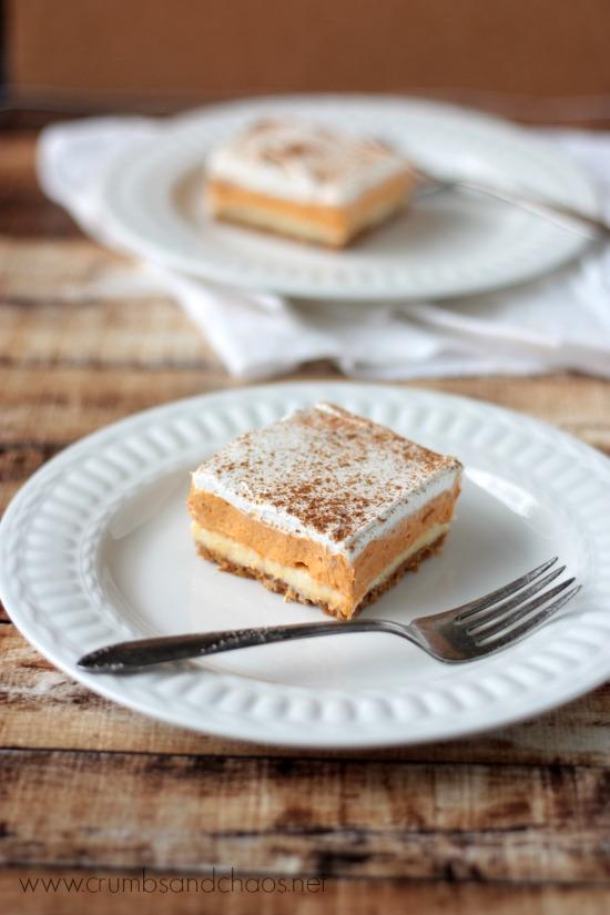 Pumpkin Butterscotch Squares | recipe on www.crumbsandchaos.net