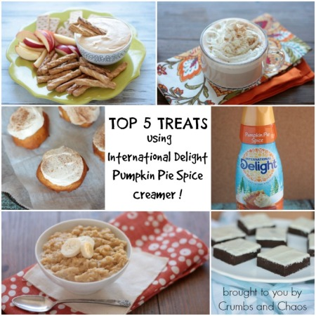Top 5 Treats using International Delight Pumpkin Pie Spice Creamer | brought to you by Crumbs and Chaos
