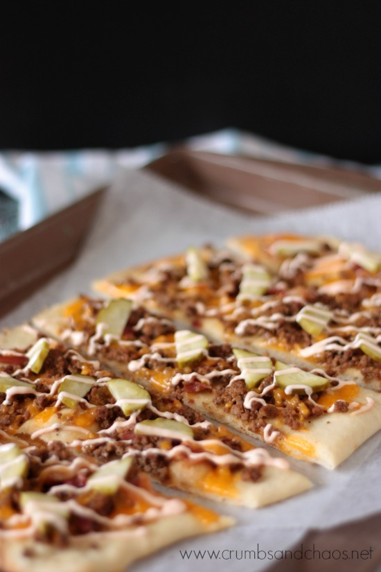 Bacon Cheeseburger Flatbread | recipe on www.crumbsandchaos.net