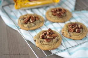 Easy Chocolate Chip Turtle Cookies | recipe on www.crumbsandchaos.net