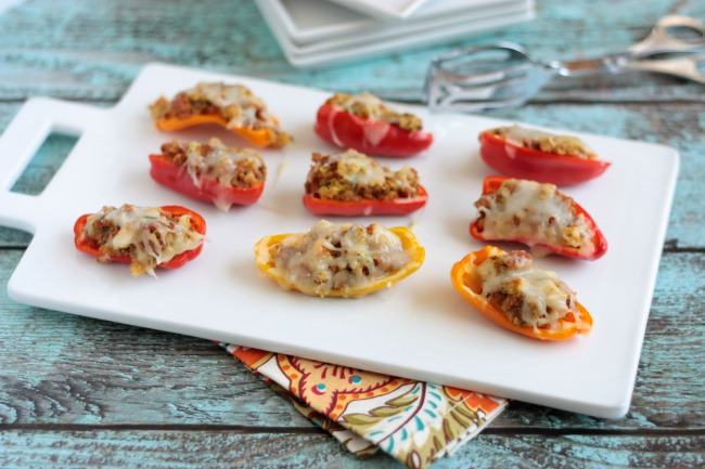 Sausage Stuffed Mini Peppers | Crumbs and Chaos