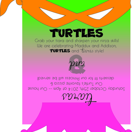 Turtles & Tiaras | crumbsandchaos.net | #ninjaturtles #tiaras #birthday #party #invitations