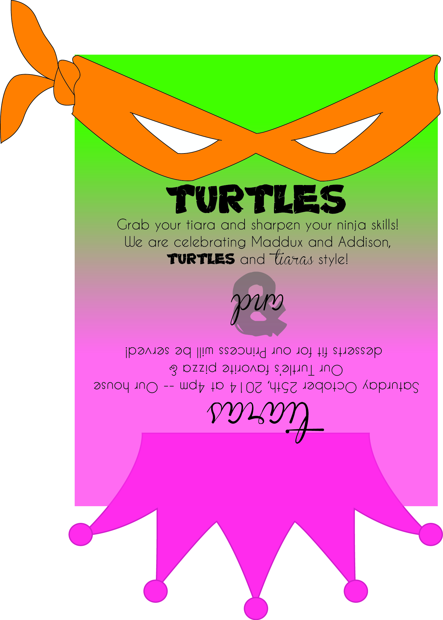 Turtles & Tiaras - A Combination Birthday Celebration - Crumbs and ...
