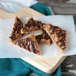 Caramel Almond Shortbread Bars | recipe on www.crumbsandchaos.net