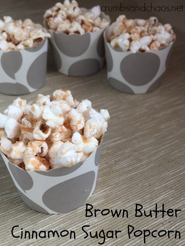 Brown Butter Cinnamon Sugar Popcorn - Crumbs and Chaos