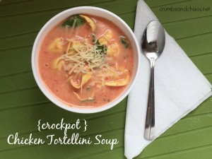 Crockpot Chicken Tortellini Soup | crumbsandchaos.net | #chicken #soup #crockpot