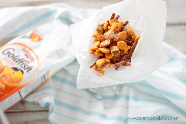 Cheesy Garlic Snack Mix | Crumbs and Chaos