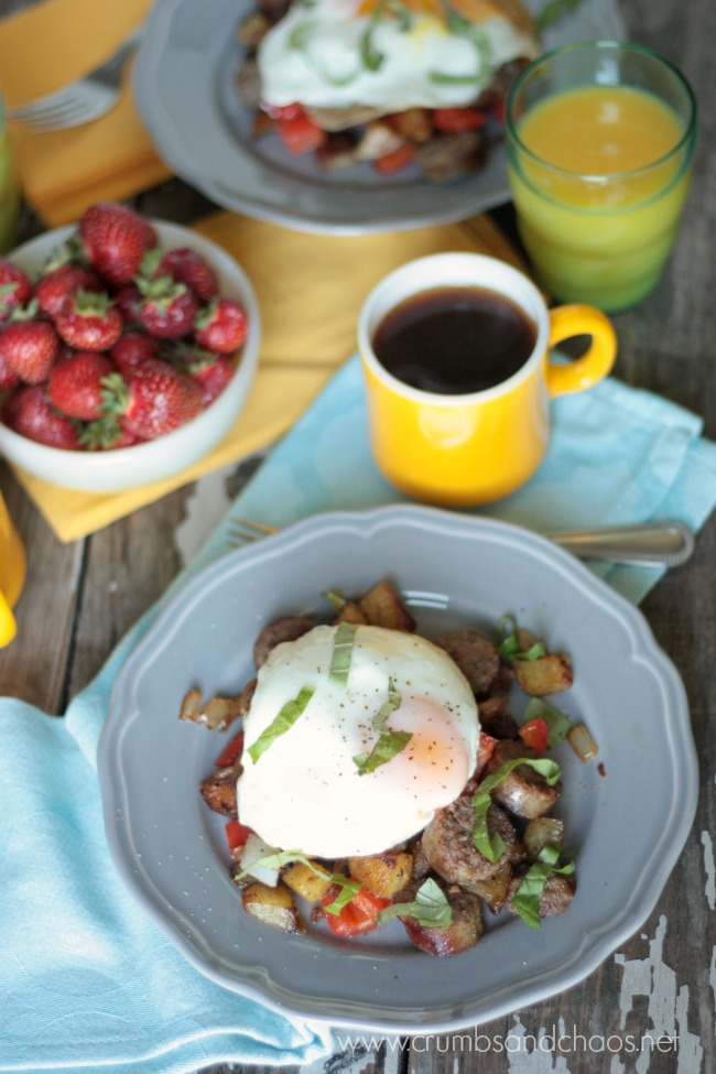 Brat Breakfast Hash | recipe by Crumbs and Chaos